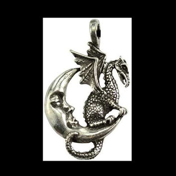 Midnight Dragon Amulet Crescent Moon Pendant