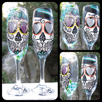 Hand painted bride and groom sugar skull champagne flute set