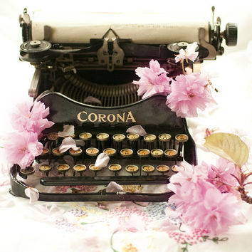 Vintage Typewriter Photograph Cherry Blossoms by GeorgiannaLane