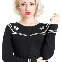 Voodoo Vixen Pinup Sailor Silky Knit Nautical Anchor Logo Cardigan