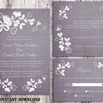 DIY Lace Wedding Invitation Template Set Editable Word File Download Printable Rustic Wedding Invitation Floral Invitation Blue Invitation