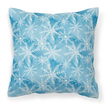 Watercolor Snowflake on Blue Fabric Decorative Pillow BB7553PW1414