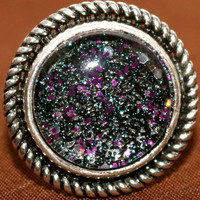 Silver Ring with Black Glass Cabochon, Adjustable Ring, Adjustable Silver Ring
