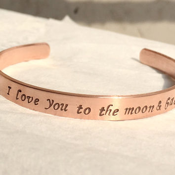 Sun moon stars Bracelet, I love you to the moon & back bracelet, copper bracelet, moon, personalized rose gold bracelet, bridal gift ideas