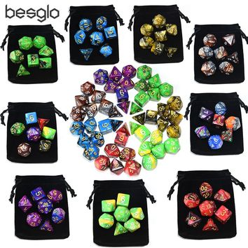 Double Color Polyhedral Plastic Dice with Drawstring Bag for Dungeons and Dragon RPG Board Games d4 d6 d8 d10 d12 d20 d%