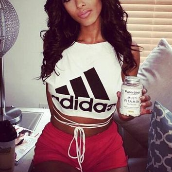 """Adidas"" Short Crop Top Vest Tank Cami"
