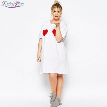 5xl 6xl Plus Size Women Tee Shirts 2016 Fashion New Summer Style Loose Casual Long Top T Shirts Hearts Print Clothing For Women