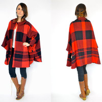 vintage 1960s plaid tartan MEDIUM-WEIGHT wool poncho CAPE coat, extra small-medium