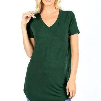 Essential Relaxed Fit V Neck SS Tunic Top - Multiple Colors!