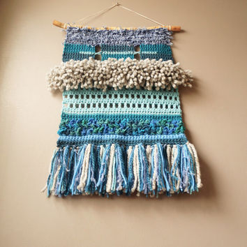 Modern Weaving / Wall Hanging / Modern Tapestry / Fringe / Crochet Hand Woven Tapestry / Blue Teal Grey / Rustic Textile / Modern Home Décor