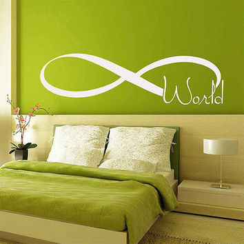 Wall Decals Quote Infinity World Symbol Art Vinyl Sticker Bedroom Decor DA3805
