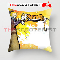 """Calvin And Hobbes Sleeping On Tree - Pillow Cover 18"""" x 18"""" - One Side"""