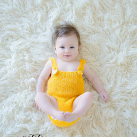 Knit baby romper / Newborn Photo props / knit baby overall / Yellow / Knitted romper