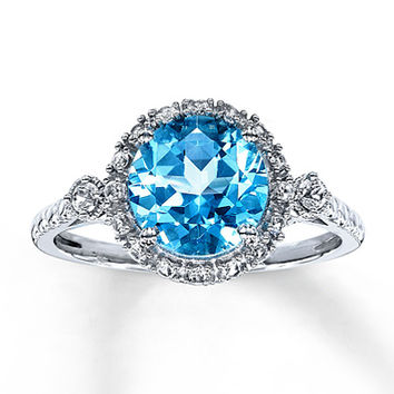 Blue Topaz Ring Lab-Created Sapphires 10K White Gold