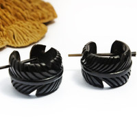 Feather Hoop Earrings Hand Carved Buffalo Horn Eagle Feather Post Earrings Tribal Style - PE029 H ALL