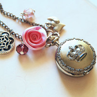 Queen pocket watch - silver necklace inspired by the snow queen, white queen, and Elsa of Frozen
