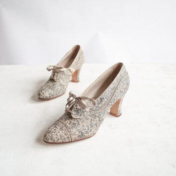 Vintage 30s Pumps / Speckled Gray Leather / 1930s Oxford Heels / Shoes 5.5 - 6