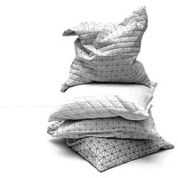 "Four origami geometric pillows, 19.5X19.5""  50x50 cm, cushions set, Home accessory, folding a part pillows, textured covers"
