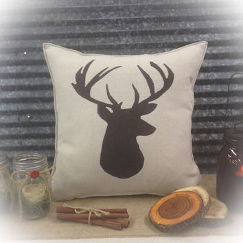 Decorative Pillow with a Deer silhouette. COMPLETE pillow.