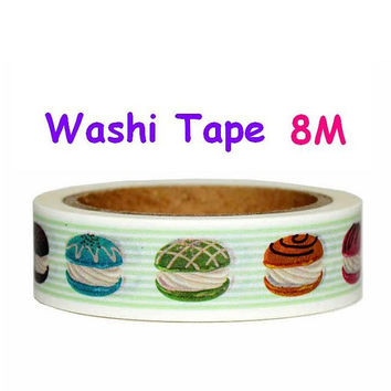 Colorful Macaron Washi tape Handmade cake Sticker tape Cake shop Sweet dessert tea time party decoration handmade food store seal label