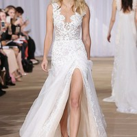 Ines Di Santo 'Morning' Layered Lace & Organza Front Slit Gown (In Stores Only) | Nordstrom