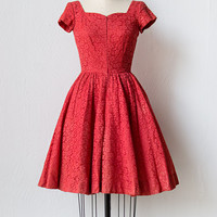 vintage 1950s red lace sweetheart dress [Call Me Sweetheart Dress] - $128.00 : ADORED | VINTAGE, Vintage Clothing Online Store