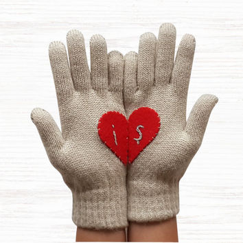 VALANTINE'S gift, Personalized Gloves Heart, Light Beige initial Gloves Monogram Accessories For Her Red Heart, Special Gift Romantic gloves