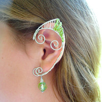 Peridot Adorned Pair of Elf Ear Cuffs, Renaissance Fair, LOTR, Hobbit, Elven, Middle Earth