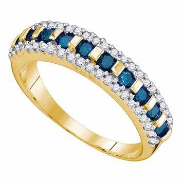10kt Yellow Gold Womens Round Blue Color Enhanced Channel-set Diamond Band Ring 1/2 Cttw