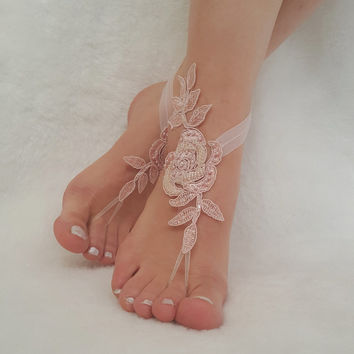 blush pink , smoked blue , champagne ,barefoot sandals , beach wedding  lace bangle ,  bridal ankle  bridesmaid gift woman  accessory ,shoe