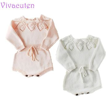 2019 Baby Girls Spring Long Sleeve Rompers Lovely Floral Clothes For New Baby Girls Kids Crochet Clothes Toddler Knit Romper