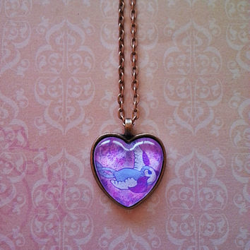 Swallow bird glass dome heart necklace for tween or teen girl