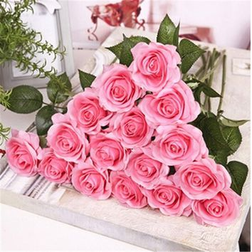 Artificial Latex Real Touch Flower Bridal Bridesmaid Bouquet Roses Wedding Decoration