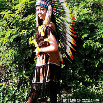 PRICE REDUCED Medium Length Indian Headdress, War bonnet, Native American Costume, Feather Headdress, Edc outfit, Plur Warrior
