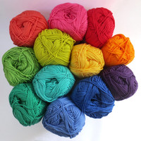 Mercerised  Cotton Yarn in one each of 12 Rainbow Colours - 50g balls plus 3mm hook - Crochet/Knitting/Amigurumi/Embroidery