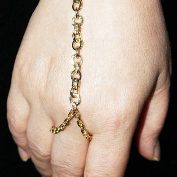 Gold Chain Slave Bracelet Hand Jewelry Hippie Bohemian Boho Wedding Gypsy Beach Hipster Armor