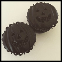 Black on Black Jack O Lantern Halloween Pumpkin Girl Plugs