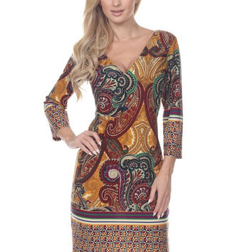 The Cassia Abstract Print Dress in Mustard