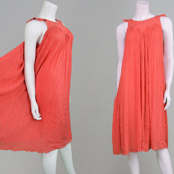 Vintage 70s Smock Dress Coral Print Crinkle Cotton Indian Style Gypsy Dress Boho Dress Hippy Dress Pleated Dress Tent Dress Summer Dress