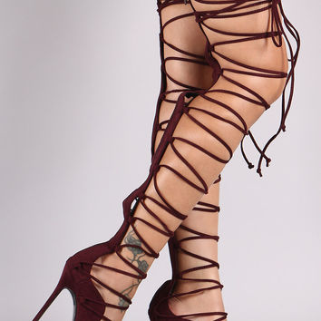 Mista 3 Demon Strappy High Heel Thigh Boot Gladiator FX Suede Wine