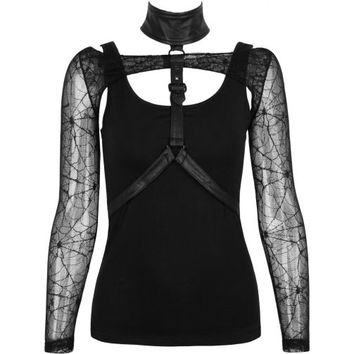 Punk Rave women's top with gothic harness
