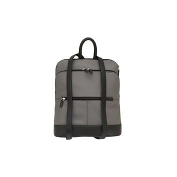 Leather Backpack - Grey/Black Combo