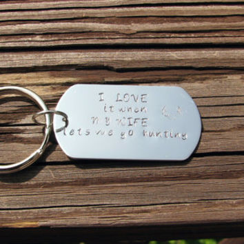 Stamped Dog Tag Keychain- I Love My Wife- Hunting- Outdoorsman- Sportsman- Personalized Keychain- Fathers Day Gift- Deer Antlers- Keyring