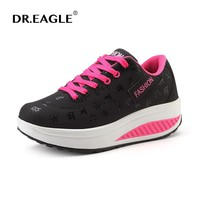 Winter shoes for Women Toning sneaker Lace Hollow Fitness Walking slimming Workout Shoes woman Wedge sneakers Free shipping