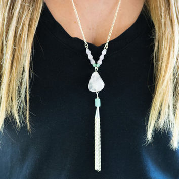 Tassel Necklace Stone Necklace Pink Tassel Necklace Chain Tassel Necklace Blue Tassel Necklace Long Tassel Necklace Beaded Tassel Necklace