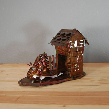 Vintage Copper Music Box / Outhouse Music Box / Toilet Humor