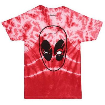 Deadpool Face Mask Logo Marvel Comics Licensed Adult Unisex T-Shirt - Tie Dye