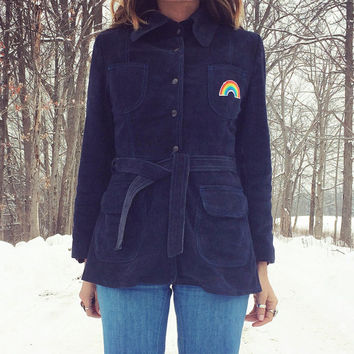 Vintage 60s 70s RAINBOW Patched Navy Blue Buckskin Suede Snap Button Belted Fitted Jacket Coat || Removable Warm Lining || Size XS to Small