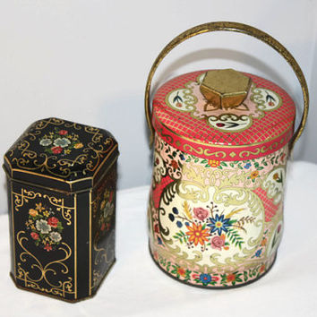 Pair of Vintage Tins, Murray-Allen Candy Box, Pink and Black Covered Containers