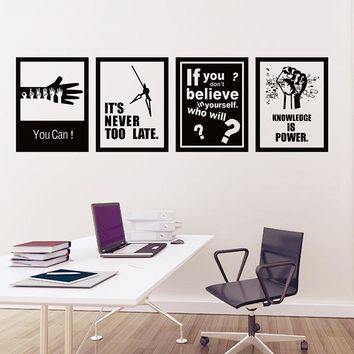 4pcs/set Motivational Words Wall Sticker Self-adhesive Wallpaper Encouraging Slogan Office School Home Wall Stickers Wall Art
